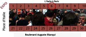 position du stand de L'Italie à Paris