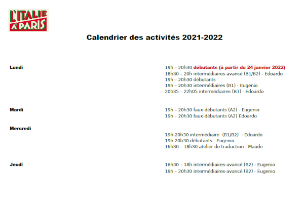 Calendrier Traduction.Cours D Italien De L Italie A Paris